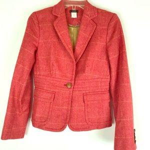 J Crew Robert Noble Red Herringbone wool blazer.